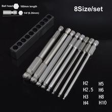 8PCS אלן ברגים סט משושה bits עבור חשמלאי 100mm כדור ראש משושה Hex מפתח מברג תיקון כלי סט