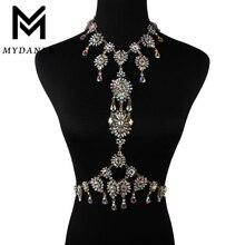 MYDANER 2017 Women Sexy Gem Summer Body Jewelry Luxury Chunky Flower Necklace Pendant Maxi Femme Statement Instagram Necklace