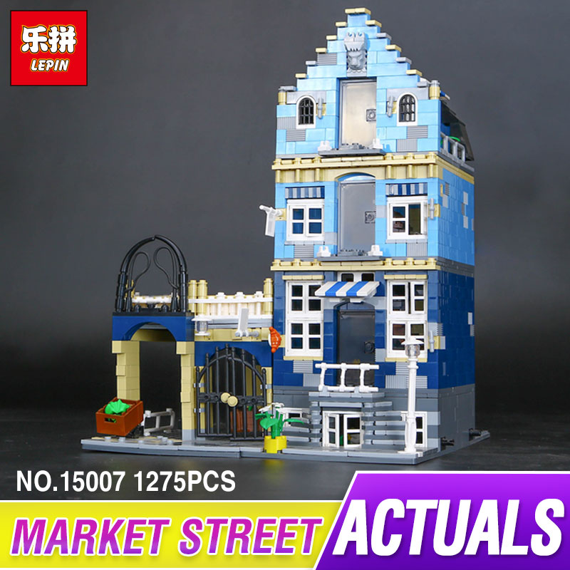 DHL Lepin 15007 Factory City Street European Market Model Building Block Set Bricks Kits DIY Compatible 10190 for children gift new lepin 16008 cinderella princess castle city model building block kid educational toys for children gift compatible 71040