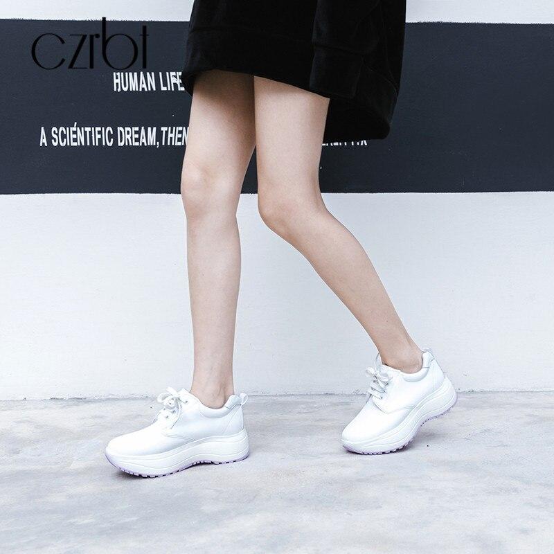 Cuir Haute Czrbt Épais Dames Chaussures Black Véritable Fond En Cm 5 Croissante Automne Hauteur Plate white Plates forme Femmes qq7pF