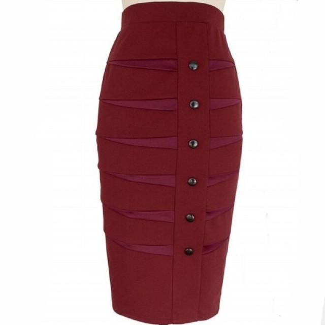 dfb99d1bebc2 Stretch Slim Step Skirts Womens Pencil Skirt High Elastic Package Hip  Mid-Calf Solid Skirt Lady Rib Cotton Midi Skirts