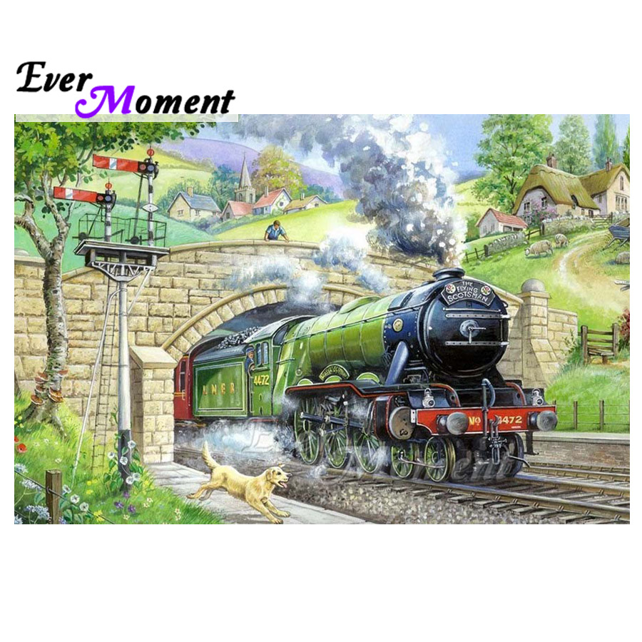 Ever Moment Diamond Painting Train Bridge Dog Landscape 5D DIY Full Square Drill Diamond Embroidery Wall Decoration S2F2140Ever Moment Diamond Painting Train Bridge Dog Landscape 5D DIY Full Square Drill Diamond Embroidery Wall Decoration S2F2140