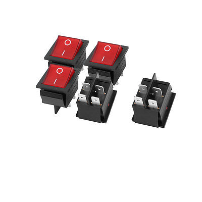 AC 125V/250V 16A 4 Terminal Red Light ON-OFF I/O SPST Boat Rocker Switch 5 Pcs ac 250v 15a 30a red indicator light 4 pin dpst on off rocker boat switch 3 pcs