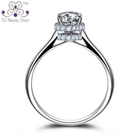 High Quality Real 925 Sterling Silver 3 4 Carat Brilliant Round Simulated Diamond White Crystal Wedding