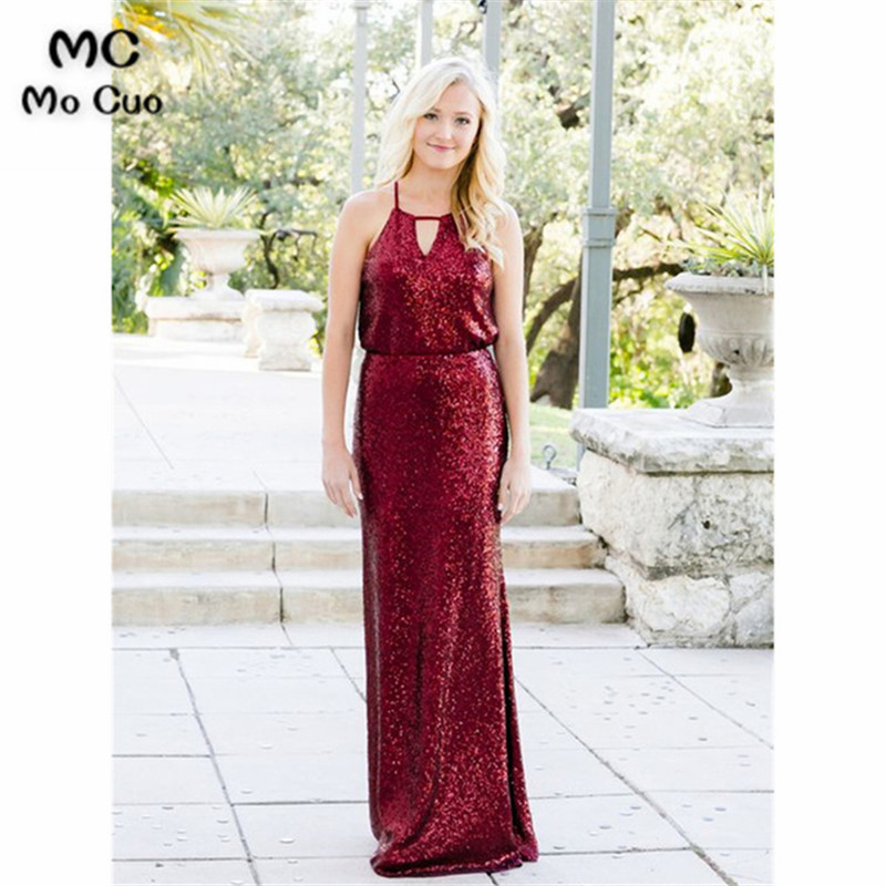 2019 Sequined Burgundy   Bridesmaid     Dresses   Long Halter Wedding Party   Dress   Maid of Honer Sheath Formal   Bridesmaid     Dress