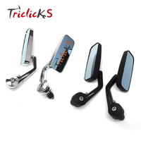 Triclicks Universal Black Chrome Motorcycle CNC 7 8 22 Bar End Side Rearview Mirrors Anti Glare