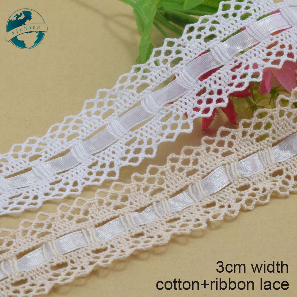 GUIPURE LACE TRIM SHUTTLE RIBBON SILK COTTON EMBROIDERED Vintage style 2 yards