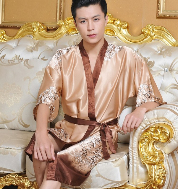 Mens Short Bath Robes  Silk Satin Kimono Collar Sleepwear  Free Size Printed  Polyester Bath Gown  Half Sleeve Mens Kimono Robe 448f94d07
