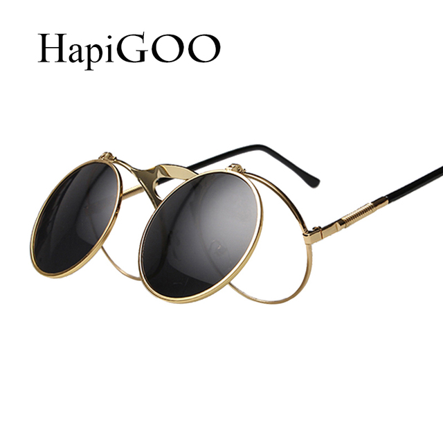 f3a3b8cb95e75 HapiGOO Clássico Rodada Do Vintage Óculos De Sol Dos Homens Lentes Steampunk  Virar de Metal Moldura