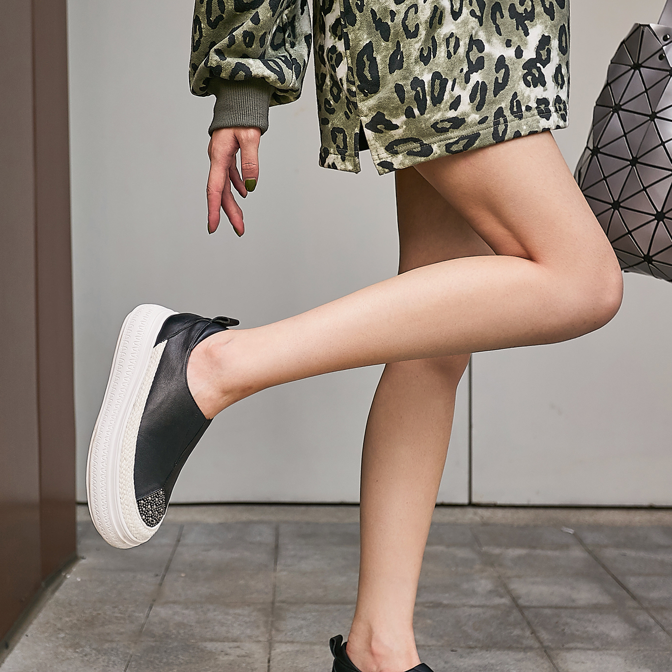 ENMAYLA Platform Heels Genuine Leather Slip On Balenciaca Shoes Rubber Casual Womens Shoes Heels Mary Jane Shoes and Bag Set in Women 39 s Pumps from Shoes