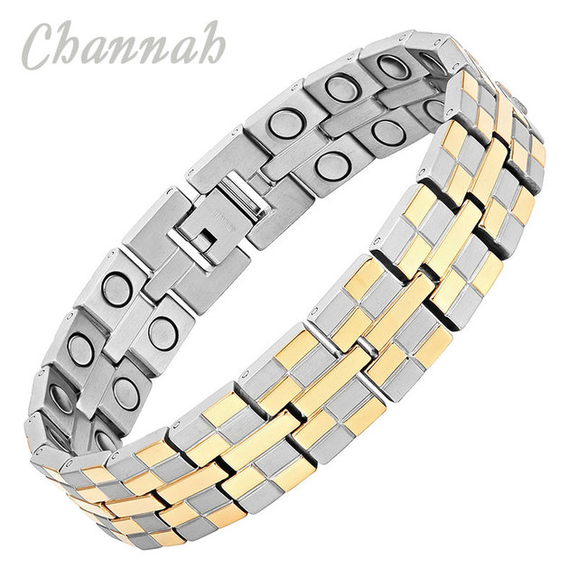Channah 2017 Men High Power Magnetic Titanium Bracelet Jewelry 36pcs Magnets Silver Healing Male Bangle Wristband Charm