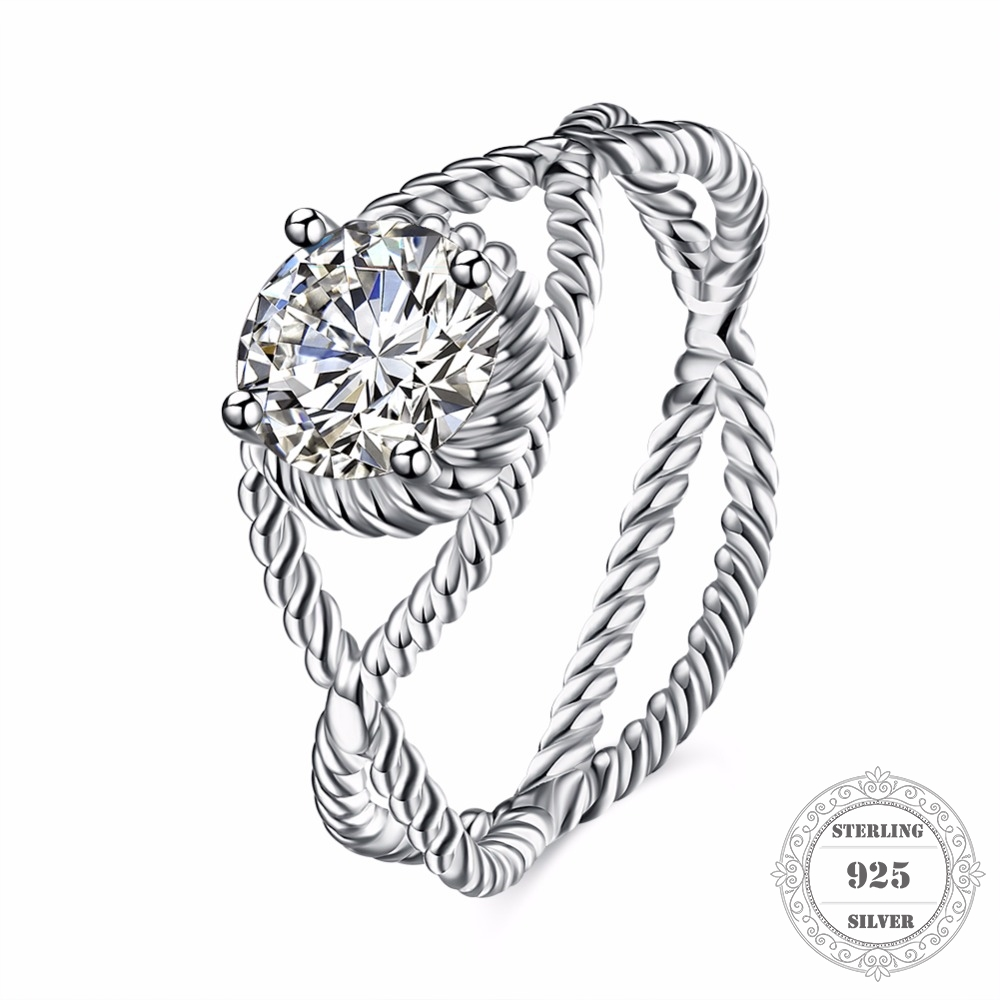 Hemiston 925 Sterling Silver Weave Twisted Round Shape Princess Cut CZ Stamp Ring Women Fine Jewelry Friend Gift TFR108