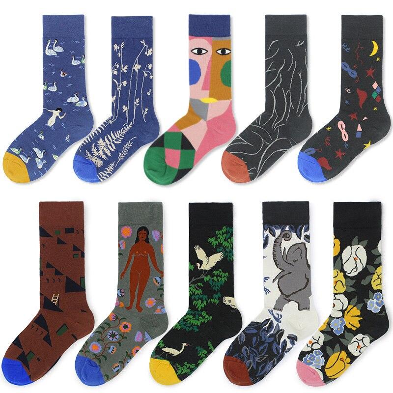 Cotton Happy Socks Women Swan Peace Pigeon Bird Animal Socks Man Colorful Picasso Art Socks Primitive Tribe Crazy Men Sock Funny