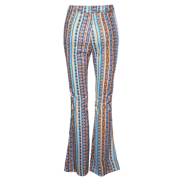 585d4938c75f8 2018 Women Striped Printed New Boho Flare Pants High Elastic Waist Vintage  Soft Stretch Ethnic Style