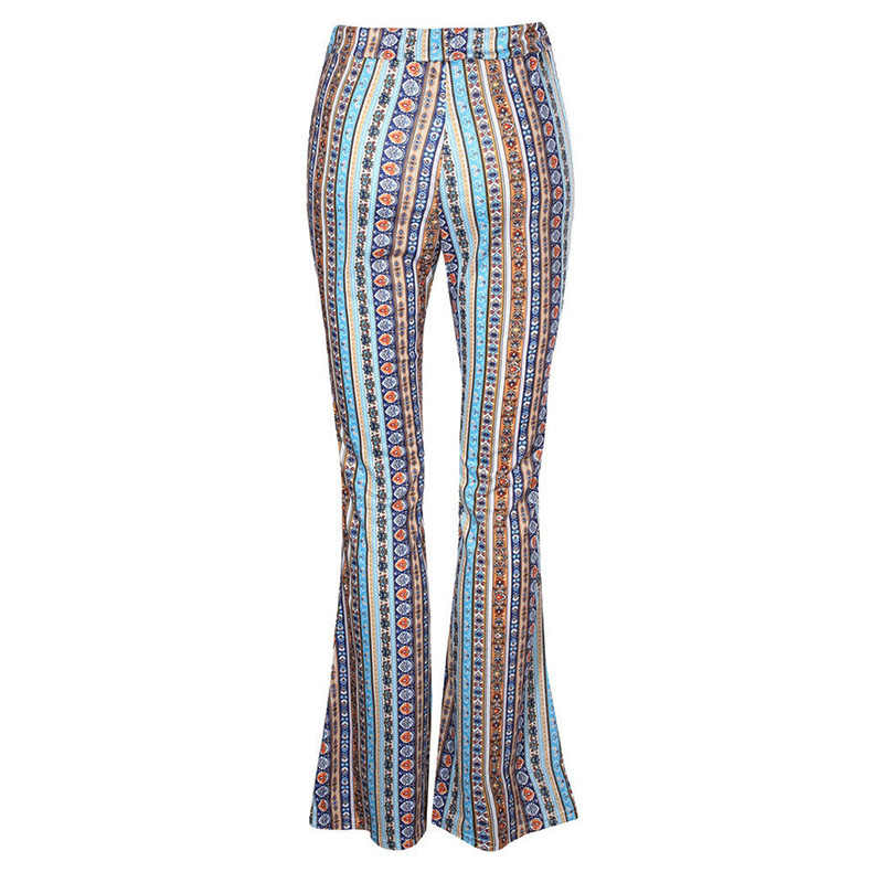 2020 kadın çizgili baskılı yeni Boho Flare pantolon yüksek elastik bel Vintage yumuşak streç etnik tarzı çan alt hippi pantolon