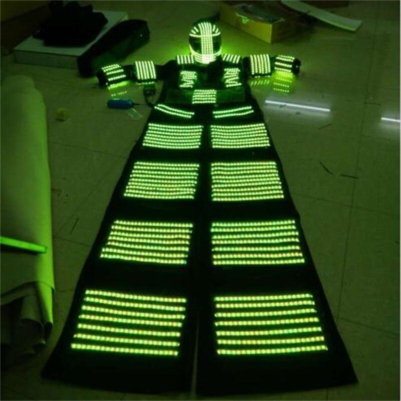 LED dəbilqə ilə işıqlı işıqlı bükülmüş robot kostyum - Şənlik aksesuarları - Fotoqrafiya 5