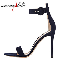 Amourplato Women s Ladies Fashion Ankle Strap High Heel Sandals 100mm Open Toe Buckle Straps Stiletto