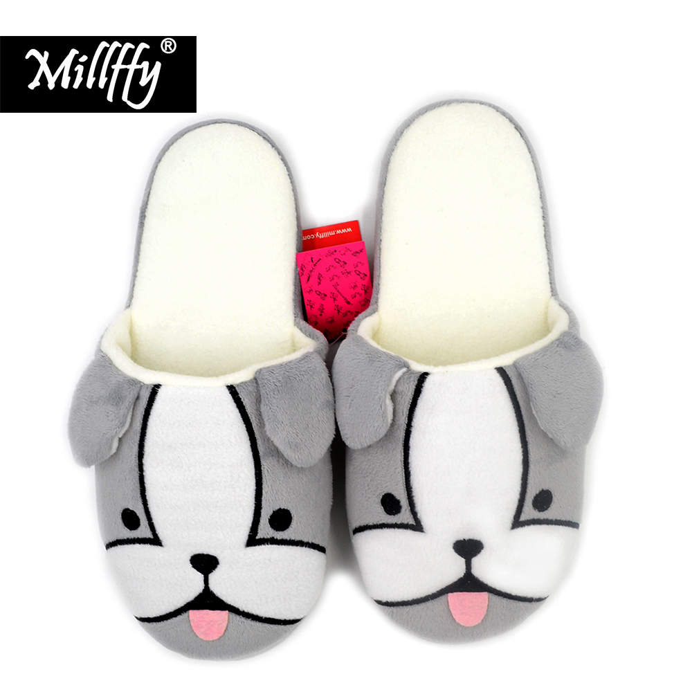 Millffy cute cartoon dog puppies home slippers indoor non-slip warm slippers thickness cotton slippers for women shoes millffy 2018 new summer sweet ladies shoes pink girl home slippers cotton indoor slip on knot stripe slippers