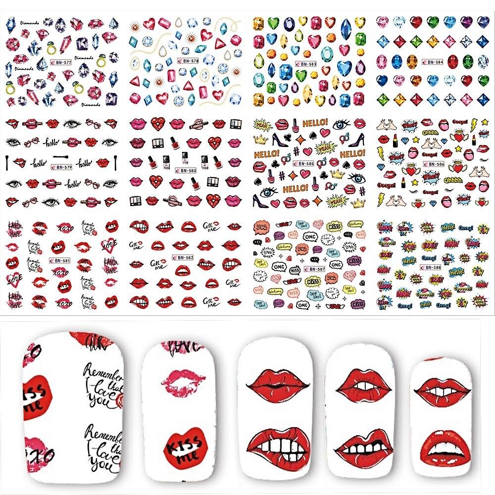Nails Art & Werkzeuge Trendmarkierung 12 Designs Lippen/diamant Muster Decals Mischten Nail Art Wasser Transfer Aufkleber Schönheit Dekoration Nail Art Tattoos Bebn577-588 2019 New Fashion Style Online Schönheit & Gesundheit