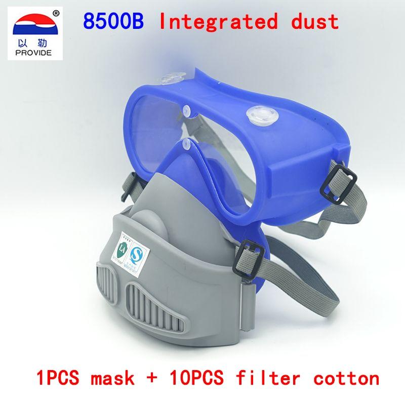 PROVIDE One type respirator dust mask Anti-fog lenses Silicone body respirator mask against dust PM2.5 smoke filter mask silicone abs dust filter respirator mask dark grey