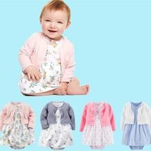 Bébé Ensembles 2017 Nouvelle Mode D'été bébé fille vêtements 100% coton vêtements ensemble salopette + dress bébé sport costume Nouveau-Né bébé bebes
