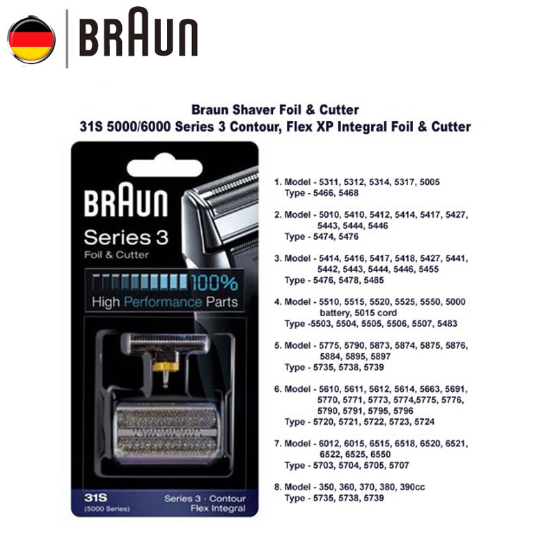 Braun Razor Blade 31S Shaver Replacement Foil for 5000 Series Electric  Sahver ( 5775 5875 5877 5895 6520 5000 ) Silver Color|shaver replacement| braun razorbraun series - AliExpress