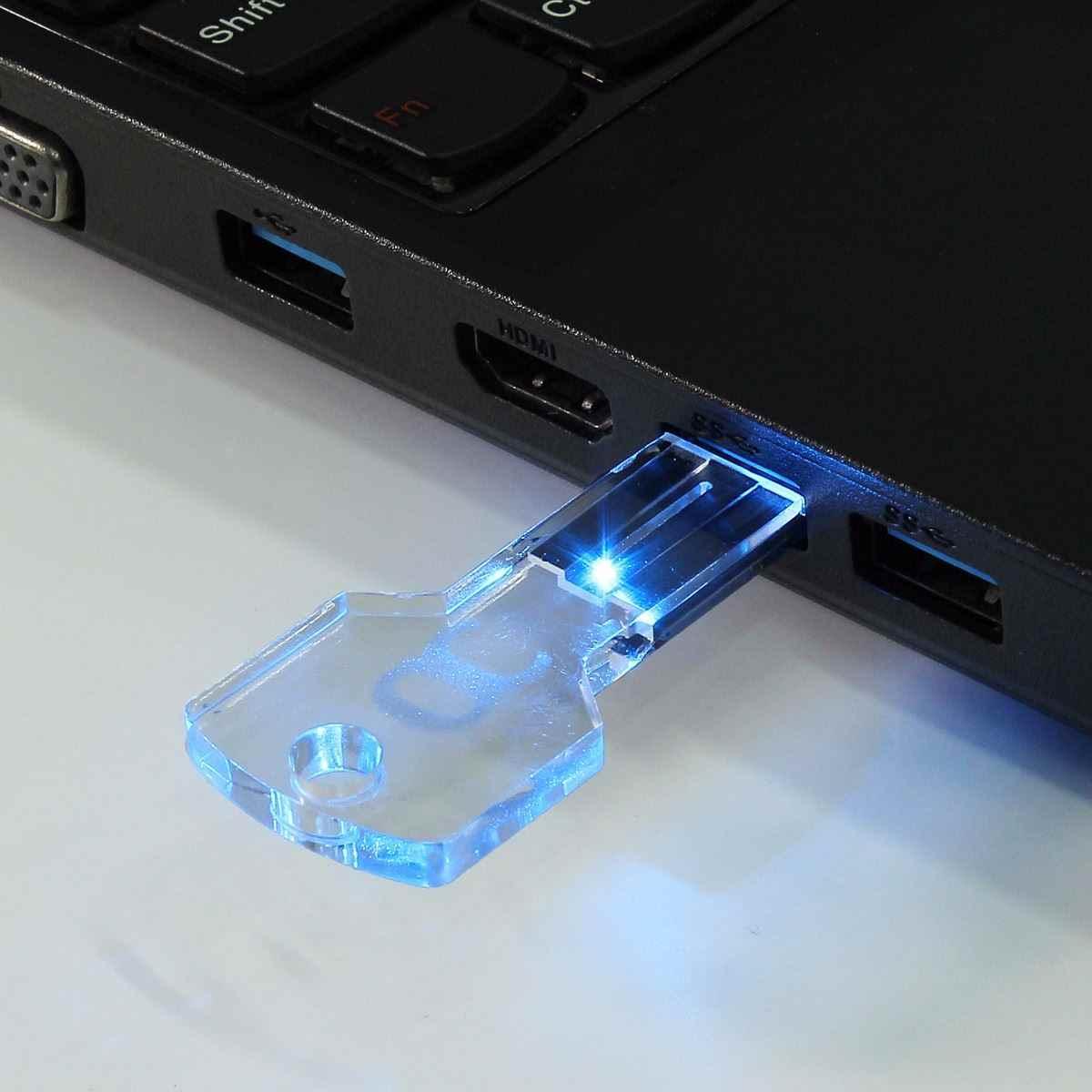Синий светодиодный, яркий, 32 ГБ/16 ГБ/8 ГБ/4 ГБ, флеш-диск USB 2,0, прозрачный, Кристальный ключ, режим ручки, накопитель, карта памяти