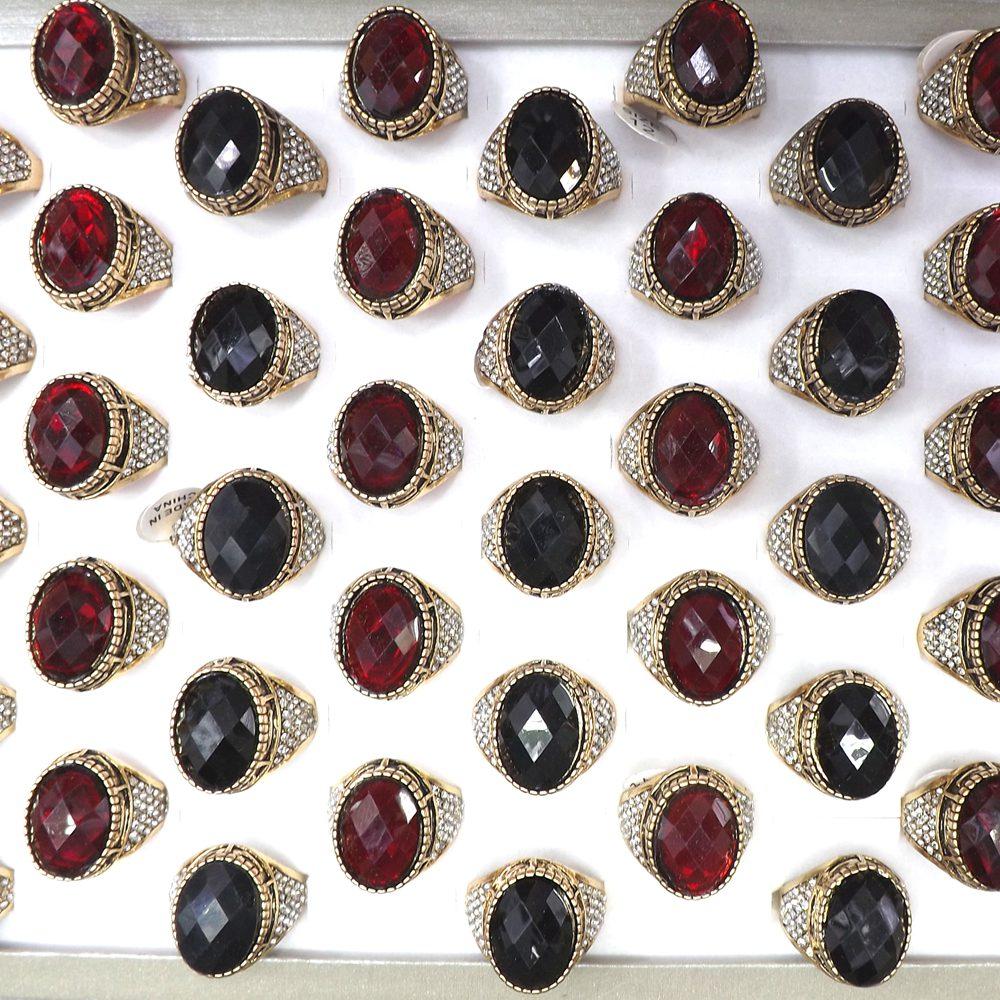 Leeker Frauen Vintage Großen Schwarzen Oval Ringe Weibliche Hochzeit Engagement Party Antike Silber Farbe Schmuck 93516 Lk9 Schmuck & Zubehör