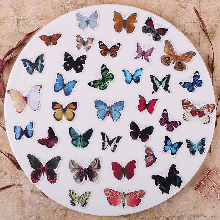 35pcs Creative Cute Self-made Beautiful Butterfly Scrapbooking Stickers /decorative Sticker /DIY Craft Photo Albums  Waterproof