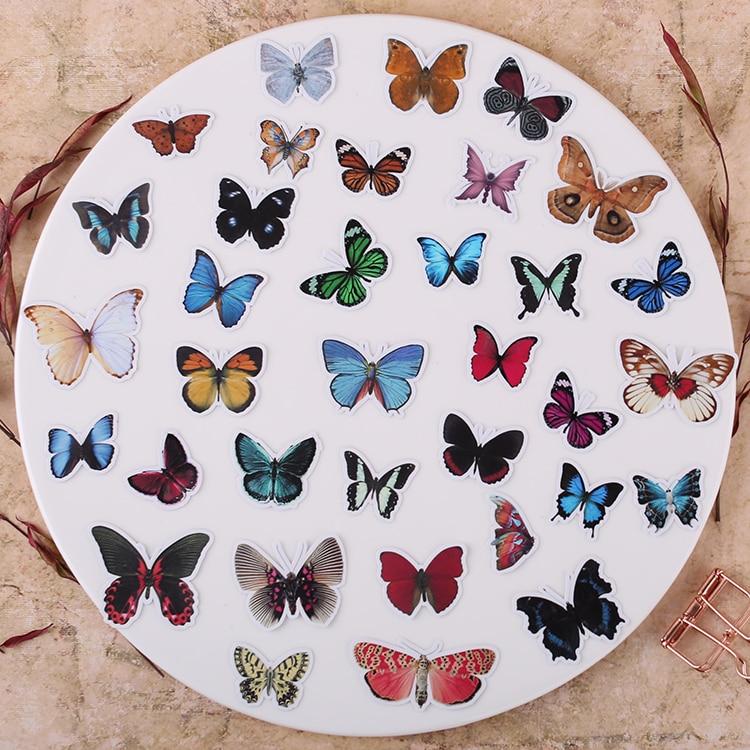 35pcs Creative Cute Self-made Beautiful Butterfly Scrapbooking Stickers /decorative Sticker /DIY Craft Photo Albums  Waterproof