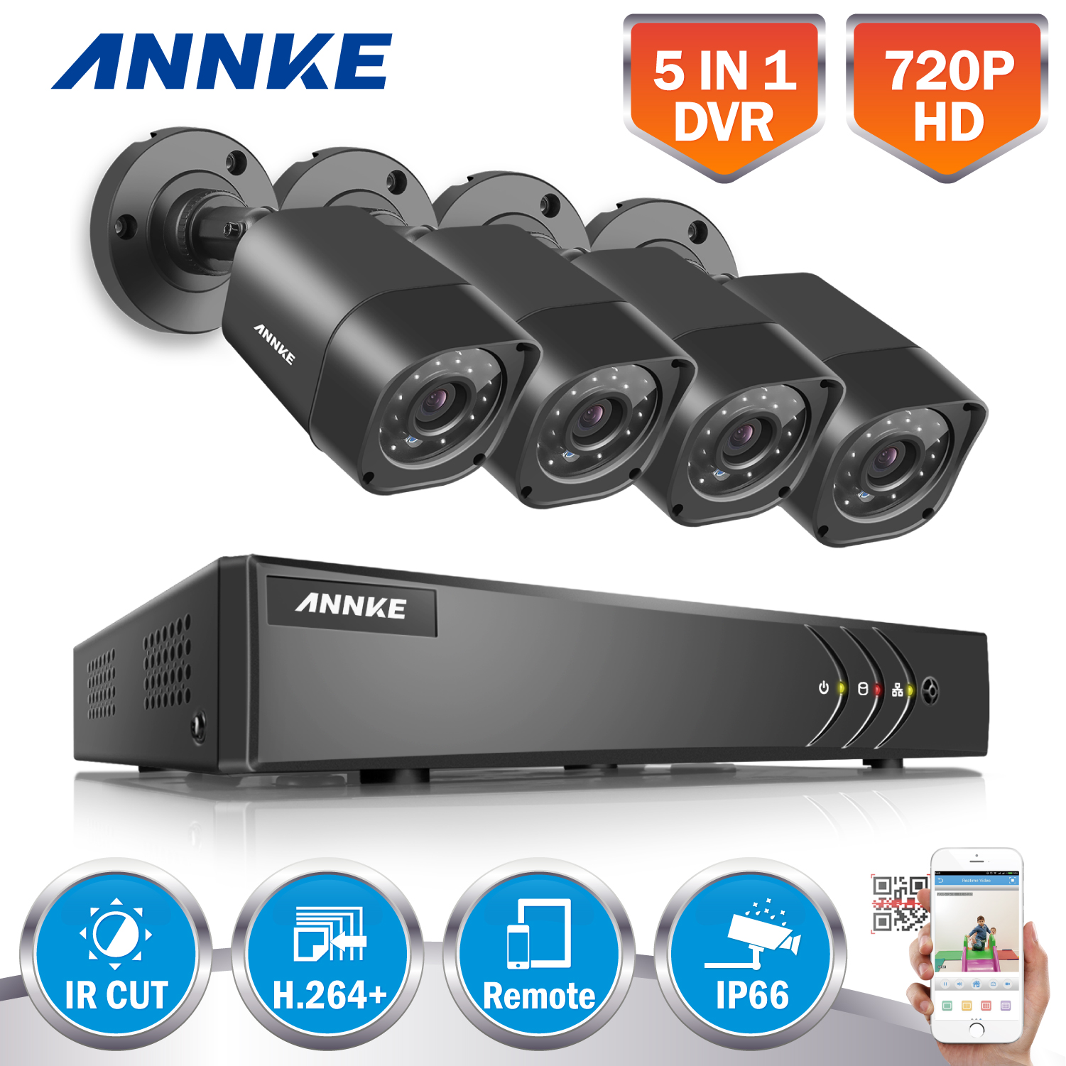 ANNKE 4CH AHD 5 IN 1 Security DVR System HDMI 1280 720 1500TVL AHD Weatherproof