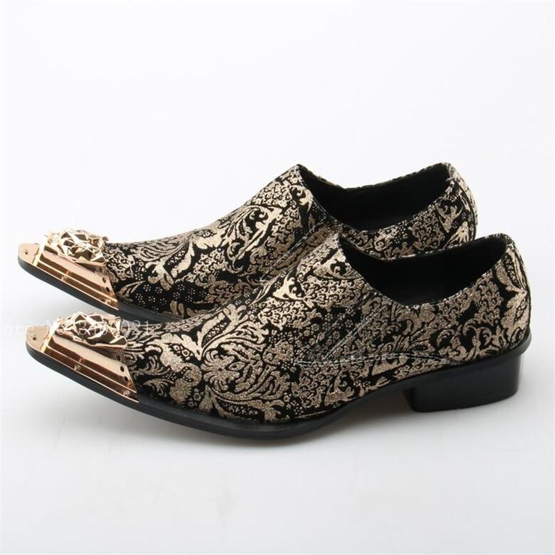2019 Apontado Vendas Deslizar Imprimir Partido Sexy Ouro Follwwith Casual As Moda Homens Sobre Hot Sapatos Dedo Do Metal Decoração Pic Flats xxT8rv5w