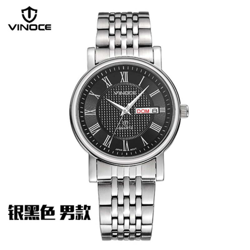 VINOCE Men Watches Luxury Brand Watches Men Steel Military Quartz WristWatch male black sport clock men Waterproof vinoce top luxury brand men military sport watches men s quartz clock male leather waterproof casual business wristwatch relogio