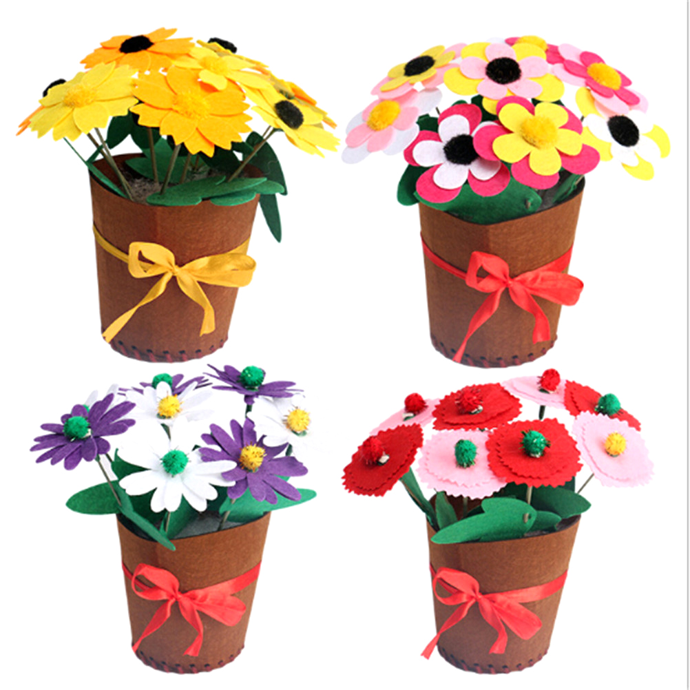 1PCS New Design Children Handicraft Toys DIY Non-woven Artificial Flower Pot Kids Early Childhood Educational Toys Gift