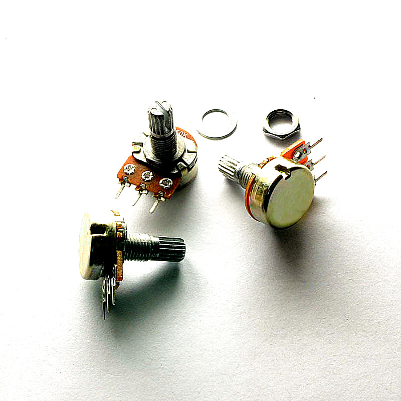 5pcs/lot WH148 3pin B1K B2K B5K B10K B20K B50K B100K B250K B500K B1M Linear Potentiometer 15mm Shaft With Nuts And Washers