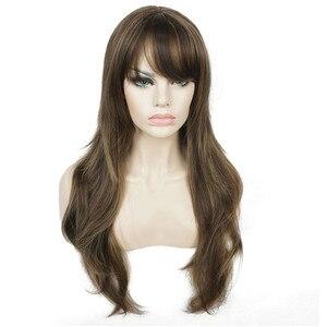 Image 4 - Strongbeauty女性の合成ロングかつらレイヤードストレート髪ダークブラウンブロンドのハイライトとキャップレスかつら