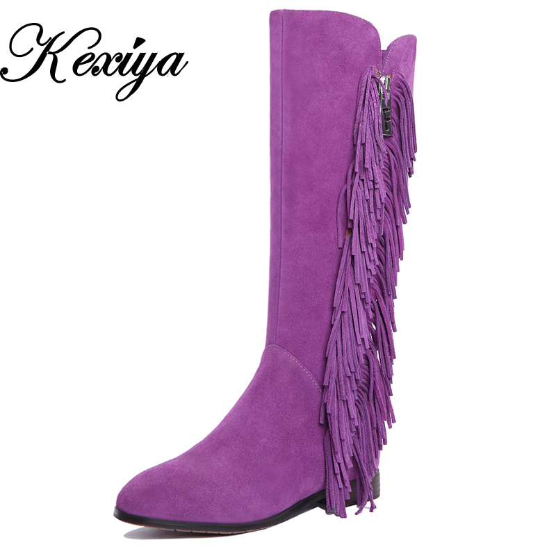2016 Fashion winter genuine leather women shoes purple low heel botas mujer big size 33-43 Tassel Knee High boots A888