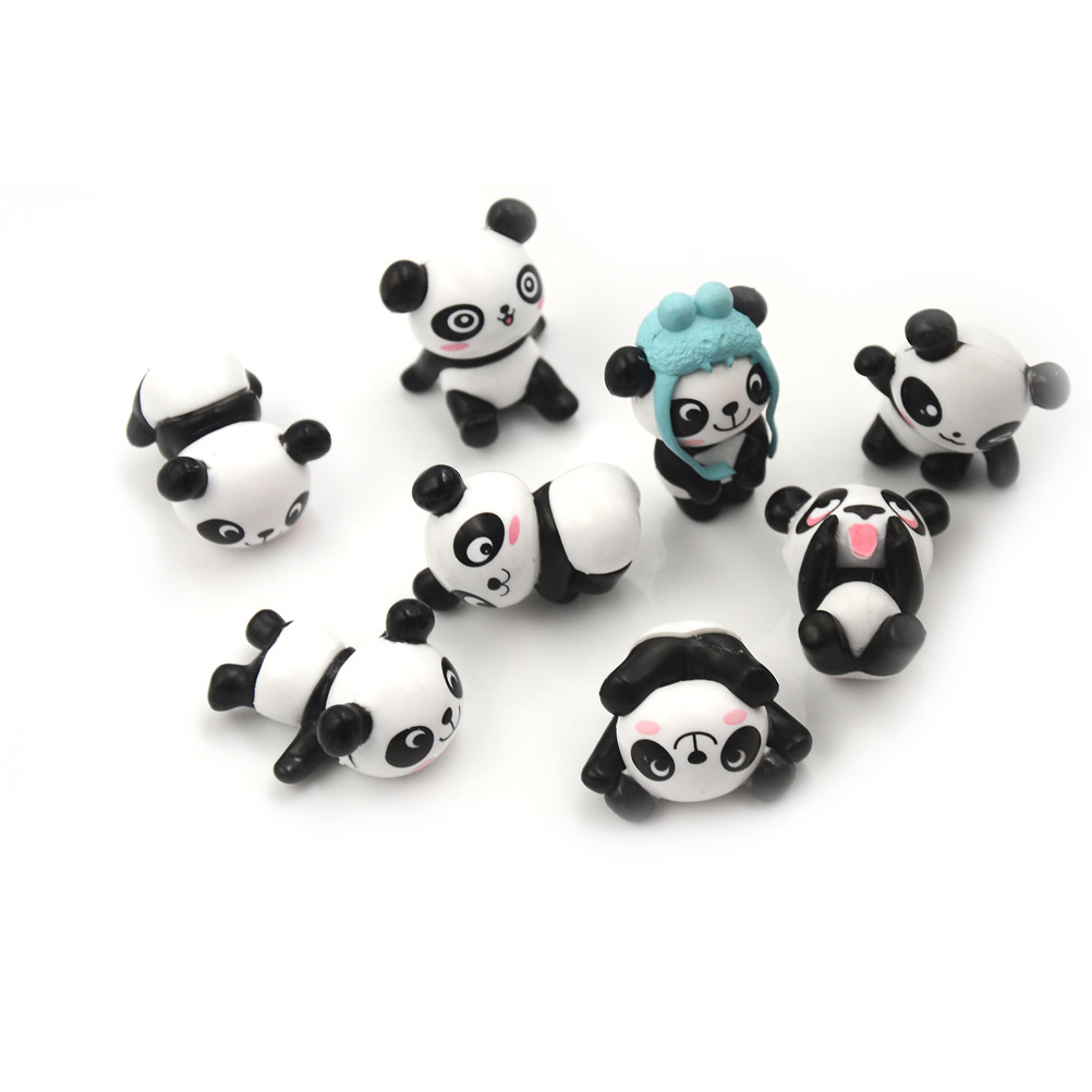 Mini PVC Kawaii Action Figures Birthday-Gift Kids Peripherals Panda Preschool-Toy-Set