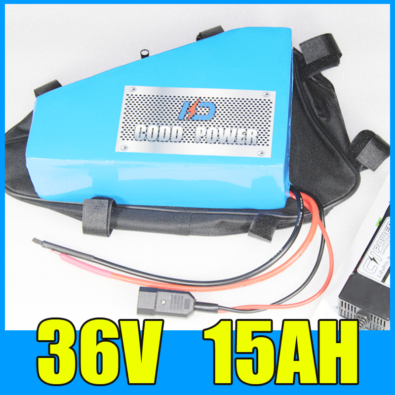Triangle 36v battery 36v 15ah electric bike lithium ion Free BMS Charger shipping and duty free customs duty new arriver triangle battery pack lithium battery 48v 10ah electric bike battery with bms free bag and charger