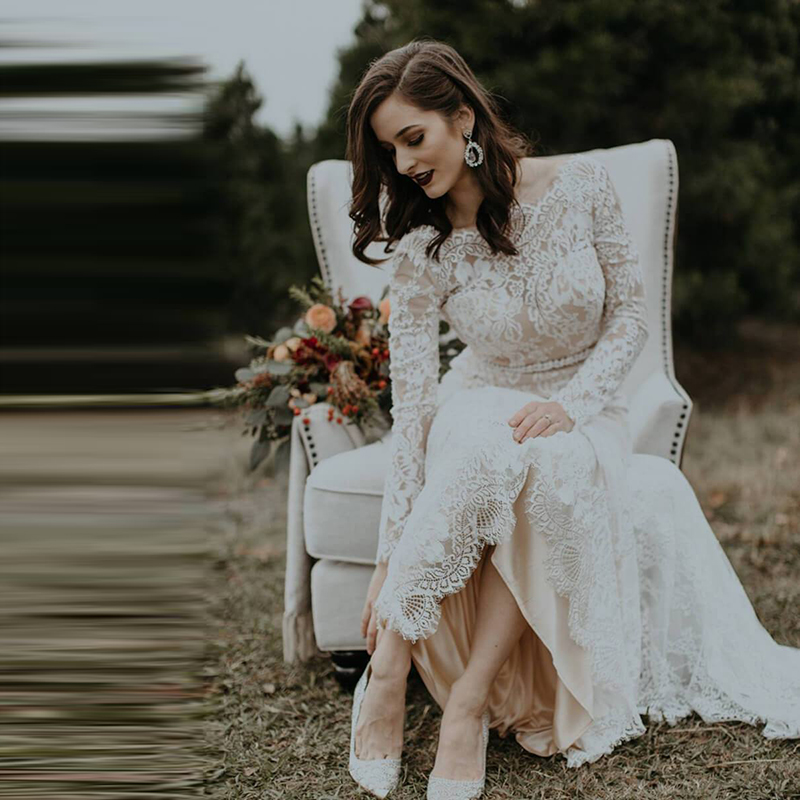 Robe De Mariage Wedding Dresses Boho 2019 Long Sleeves Lace Chic Bohemian Wedding Dress Bridal Gowns