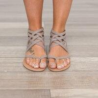 ขนาดใหญ่ขนาดใหม่มาถึงผู้หญิงรองเท้าฤดูร้อนนักรบstrappy puหนังผ้าพันแผลลูกไม้ขึ้นทองคลิปแหวนน...