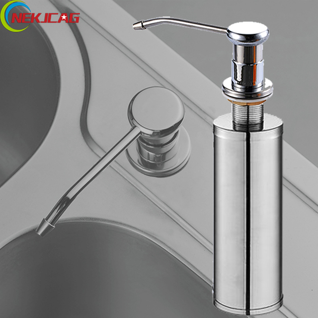 Wholesale and Retail Deck Mounted Kitchen Vessel Liquid Soap Dispenser 220ML Stainless Steel Kitchen Sink Soap Box