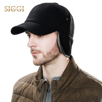 Siggi Men Wool Baseball Fitted Cap Winter Warm Earflap Bill Hat Black