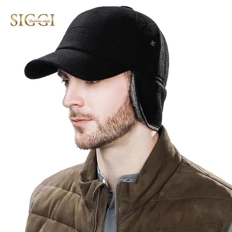 SIGGI gorra de béisbol de los hombres de invierno con orejeras papá sombreros de lana piel sintética Rusia sombreros gorra Gorro de orejeras de protección 67134