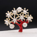 AlooWay spring new personality Retro Red drops of oil rich tree exquisite female all-match Brooch corsage pins