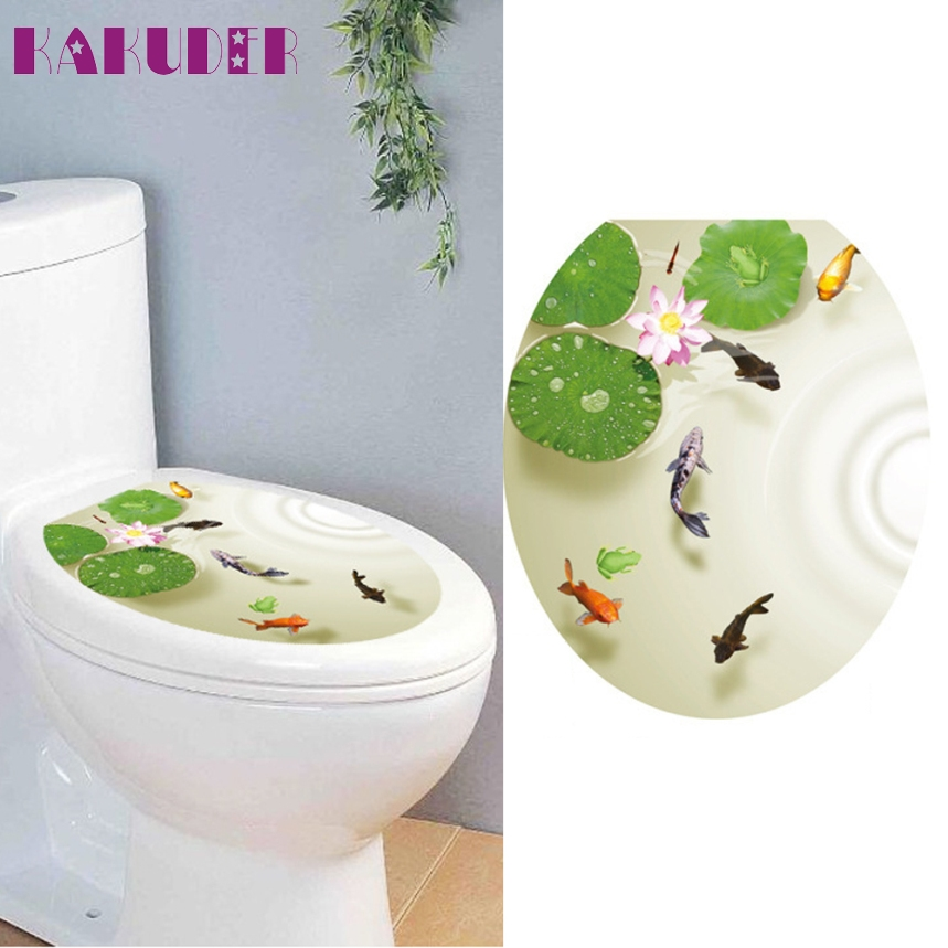 Kakuder Top Grand Bathroom Toilet Seat Sticker Novelty Animal Fish Toilet Seat Decal Wall Stickers Bathroom Decor Cute