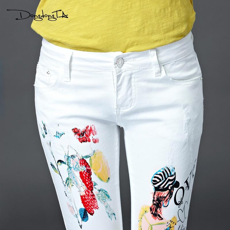 Dongdongta Nowe damskie dziewczęce dżinsy 2017 Oryginalny design - Ubrania Damskie - Zdjęcie 5