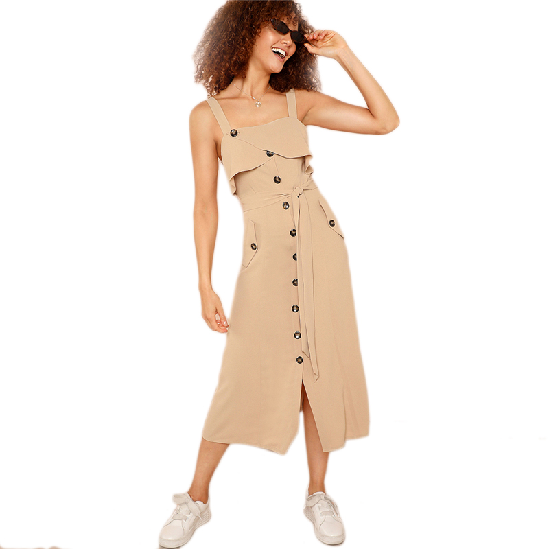 Stylish khaki foldable front belt hem button pocket both sides dress HTB1VRnsB9BYBeNjy0Feq6znmFXaA