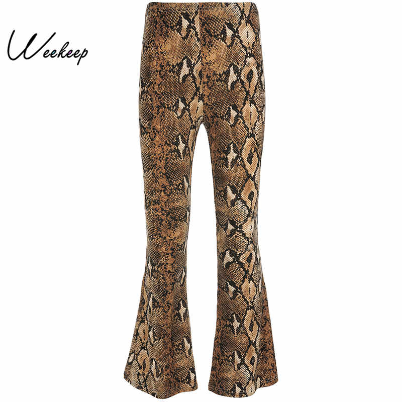 Weekeep Women High Street Snake Print   Pants   Spring Autumn High Waist   Wide     Leg     Pants   2018 Elastic Waist Streetwear Trousers Women