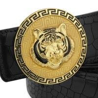 2017 Tiger Round Buckle Belt Men Luxury High Quality Fashion Designer 3 8 Cm Wide Belt